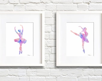 Set of 2 Ballet Dancer Art Prints - Watercolor Painting - Wall Decor