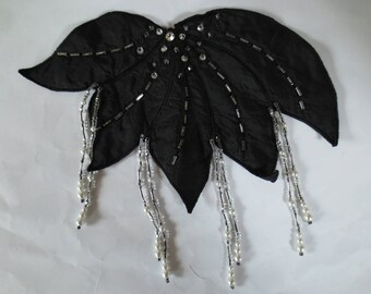 Application black leaf with beads and pendants