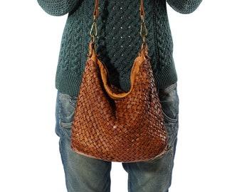Leather Shoulder Bag, Vintage Handbag, Woven Bag, Women Crossbody Bag, Small Crossbody Bag, Woven Leather Bag, Best Leather Bag, Cognac Bag