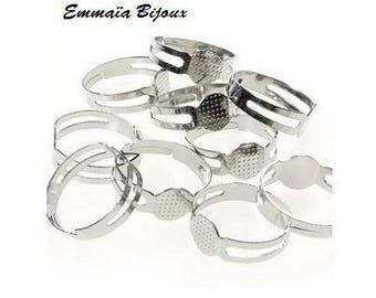 10 rings 8 mm silver plated tray