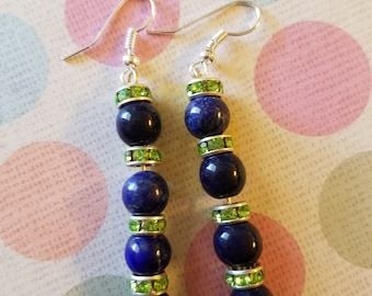 One of a kind blue and green earrings hypoallergenic