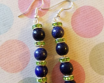 One of a kind blue and green earrings