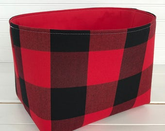 Buffalo Plaid Storage Basket Woodland Nursery Lumberjack Baby Boy Nursery Decor Home Decor Baby Shower Gift Red Black