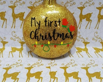 My first Christmas, My first Christmas ornament, My 1st Christmas, Baby's first Christmas, Baby Christmas Ornament, Baby's First Ornament