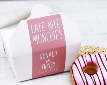 Midnight Snack, Late Nite Snack, Wedding Cake Favor Box, Donut Box, Cake Box, Dessert To Go, Take Out Box, Wedding Favor, Wedding Sticker