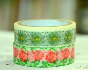 2 Rolls of Japanese Washi Tape Roll-  Daisy and Roses