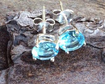 Cubic Zirconia Stud Earrings 6mm Stone In 925 Sterling Silver Blue