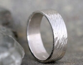 Hammered Men's Wedding Band – Sterling Silver – Commitment Rings – Wedding Bands – Unisex Design – Rustic – Made in Canada