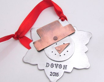 Personalized Ornament, Snowman Ornament, Christmas Tree Ornament, Custom Snowflake Ornament, Personalized Christmas Decoration Holiday Decor