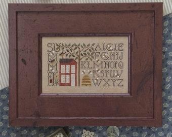 "THE DRAWN THREAD ""Simply Summer""   Summer Season Cross Stitch Pattern by Cynthia Zittel   Summer Sampler   Bee Skep, Bees, Alphabet, House"