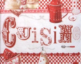 Decoupage paper napkins, Cuisine, Red, Set of 3 paper napkins, size 33x33cm (no.86)