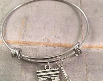 Eiffel tower bracelet, charm bracelet,  Paris bracelet, Arc de Triomphe, personalized jewelry, French fashion, paris charms, gift for her