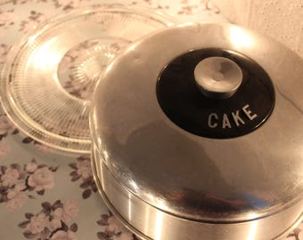 Vintage Aluminum Cake Saver and Glass Cake Plate