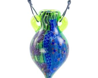 Summer Iris: Aromatherapy Art Glass Vessel Necklace