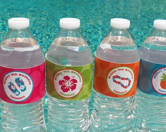 Personalized Luau Water Labels Printable - Hibiscus Dream Collection