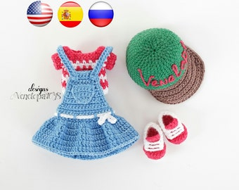 Pattern - (ONLY CLOTHES) Doll Summer, amigurumi crochet doll, crochet doll pattern, amugurumi pattern, pdf pattern