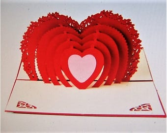 Pop-Up Valentine Card - Classic Red Heart Pop-Up Greeting Card