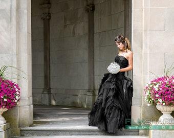 Gorgeous Black Wedding Dress with Organza Layers by Award Winning Bridal Salon