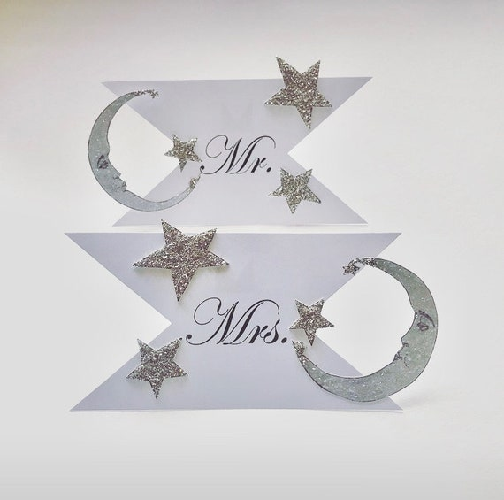 Mr. and Mrs. Wedding Signs, Moon and stars, Celestial, Silver Glitter Detail