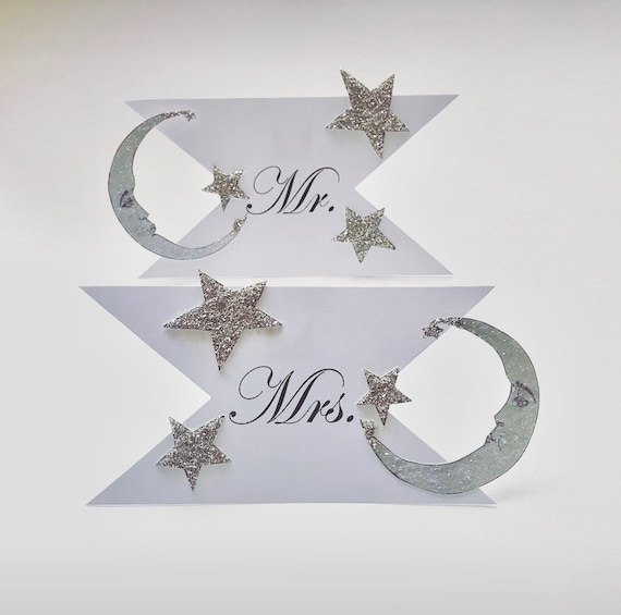Mr. and Mrs. Wedding Signs. Seat Signs, Moon Wedding Decor. Celestial Seat Signs. Art Deco Seat Signs