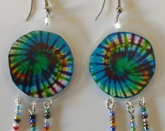 Tye Dye Laminated Earrings-Tie Dye Swirl Design-Hippie-Retro-Boho-Psychedelic-Tie Dye Beaded Earrings-Dangle Earrings-French Earwires