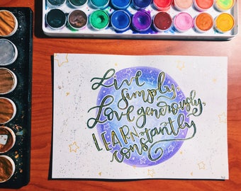 Live Simply Watercolor Quote