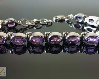 925 Sterling Silver Genuine African Amethyst Bracelet 7.5 inches