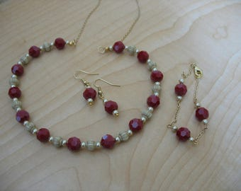 Red Crystals and Ivory Urns beaded necklace, bracelet, and earring jewelry set