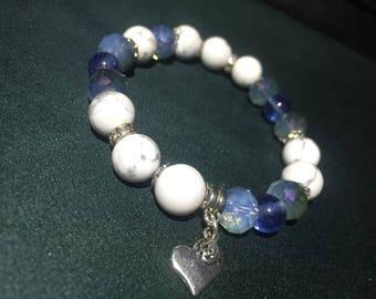 Women Bracelet,Howlite,Quartz,Hematite,Jewelry,Anniversary,Gift,Handmade