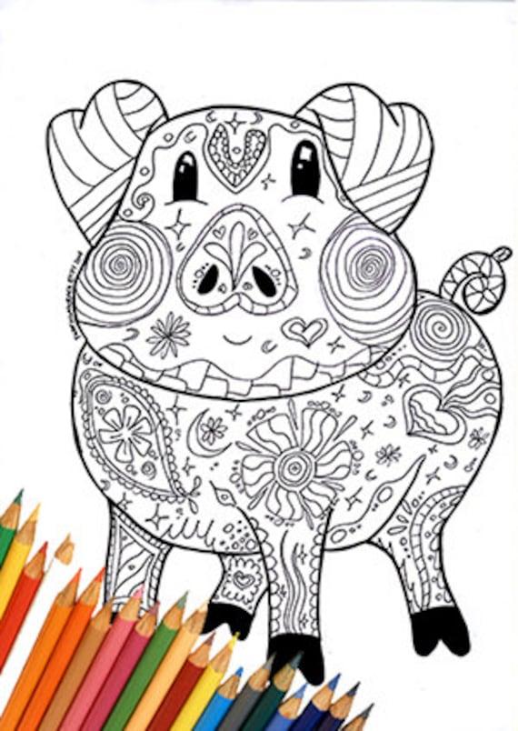 Schwein druckbaren Seiten Mandala Zentangle Doodle Erwachsene