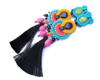 Colorful Tassel Earrings with Clip On - Long Soutache Earrings, Handmade Earrings, Clip On Earrings, Soutache Earrings, Tassel Earrings
