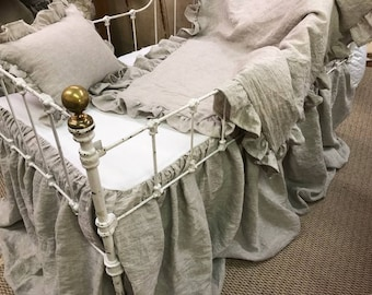 Washed Linen Crib Bedding Separates-Oatmeal Washed Linen - Crib Skirt - Ruffled Duvet - Ruffled Crib Pillow