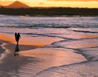 Sunset Lonely Surfer Print, Seaside Photograph, Surfing Noosa Australia