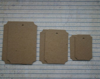 6 bare chipboard die cuts notched corner TAG diecuts 3 sizes