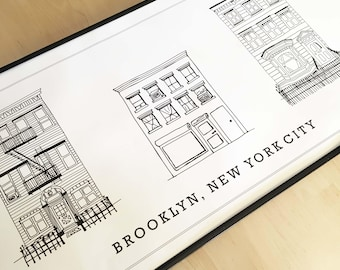 Brooklyn NYC Brownstones 12X36in Poster