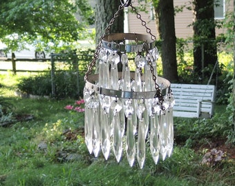Vintage Waterfall Chandelier Parts with 34 Crystal Prisms DIY Projects Sun Catcher Wind Chimes Replacement Prisms Restoration Lighting