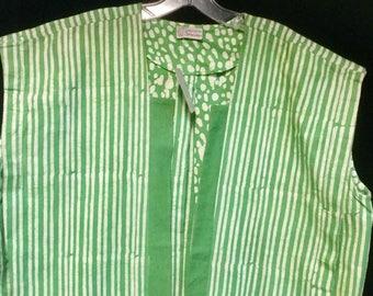 Green Batik Vest Large Magdac NWT Made in India Stripe Polka Dot Vintage 1980's Woman's Spring Vest Coat Jacket