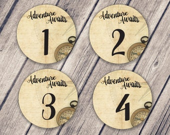 TABLE NUMBER Mason Jar Lid Labels / Mason Jar Labels / Wedding Table Numbers / Adventure Awaits / Event Table Numbers / Instant Download