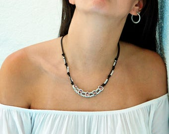 Women leather necklace,leather necklace,beaded necklace,leather cord necklace silver plated,Swarovski beads,CI023