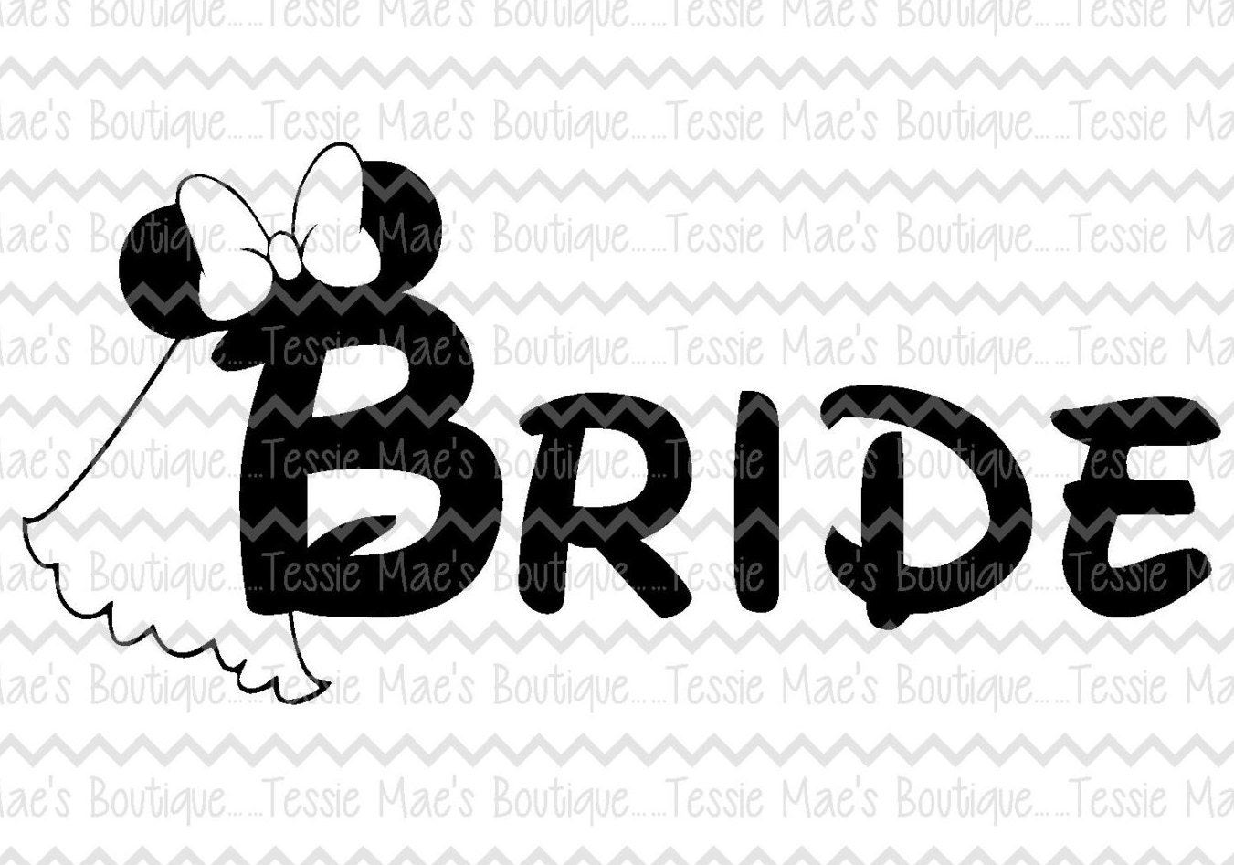 Minnie Mouse Bride Disney Bride Disney Wedding SVG DXF