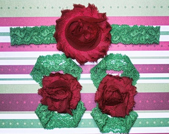 Red on Green Christmas barefoot sandals with headband