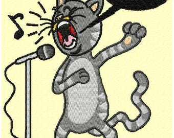 Cat singer machine embroidery pattern