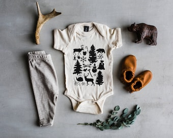 Baby's First Christmas Bodysuit • Unique Winter Holiday Illustration Baby Outfit • Rustic Modern Christmas Outfit for Baby •  FREE SHIPPING