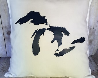 Michigan pillow cover- Great Lakes Pillow- Great Lakes- Michigan great lakes- Michigan- Pillow cover- white pillow cover
