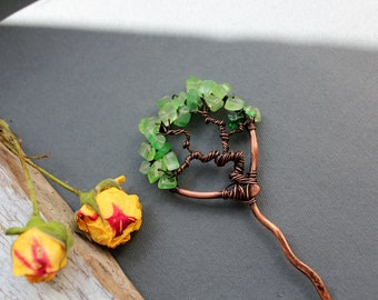 Tree of life, Hair stick, Wire wrapped, hair accessories, Metal hair pin, Tree hair pin, Hair stick, Copper hair pin, Hair wire stick