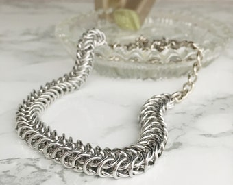 Chainmaille Necklace - Chainmaille Jewelry - Women's Chain Necklace - Box Chain Necklace - Gift for Her