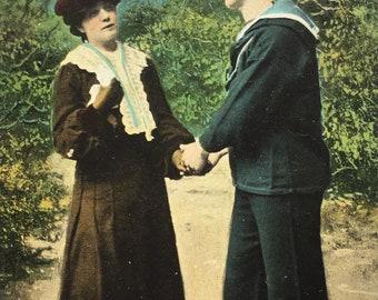 1920s Romantic postcard, Valentine's series, Jack's courtship, sailor