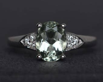 oval cut engagement ring green amethyst ring green gemstone ring sterling silver promise ring