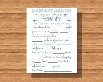 Marriage Mad Libs, A Wedding Celebration Guest Book Alternative, Wedding Celebration Game