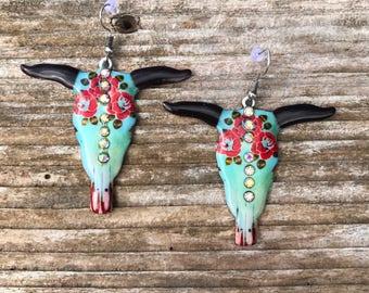 Small Cow Skull Earrings